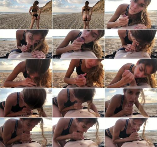 PassionDessire - Risky blowjob on the beach. They caught us [FullHD 1080P]
