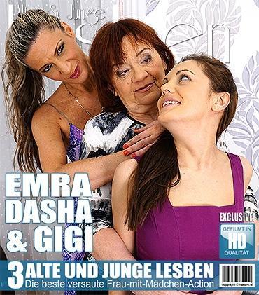 Mature - Dasha (68), Emra (25), Gigi S. (44) - 3 alte und junge Lesben spielen miteinander